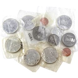 Lot of 1963-1974 Canadian Coinage in Sealed Plastic Cut from Proof Like Sets. You will receive 2x 1-
