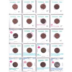 Errors: Estate Lot of 1953-1999 Canada 1-cent & 5-cents with Various Errors. 20pcs.