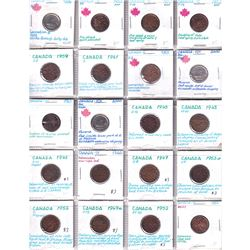 Errors: Estate Lot of 1943-2000 Canada 1-cent & 10-cents with Various Errors. 20pcs.