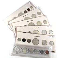 Lot of Canada 6-coin Silver Year Sets - 1957, 1959, 1960, 1963, 1964 & 1965. All come in White Cardb
