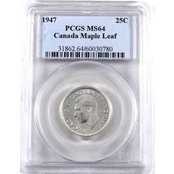 1947 Canada 25-cents Maple Leaf PCGS Certified MS-64.