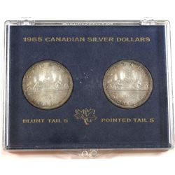 1965 Canada Silver Dollars Blunt Tail 5 & Pointed Tail 5 Varieties in Hard Plastic Holder.
