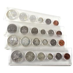 Lot of Canada 6-coin Year Sets 1965, 2x 1967 & 1968 (one of the 1967 sets has a 1960 50-cents coin).