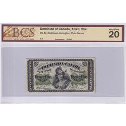 1870 25c DC-1c, Dominion of Canada, Dickinson-Harington, Plain Series, BCS Certified VF-20 (small pi