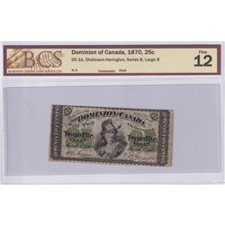 1870 25c DC-1b, Dominion of Canada, Dickinson-Harington, Series B, Large B, BCS Certified F-12 (smal