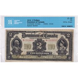 1914 $2 DC-22c, Dominion of Canada, Various-Saunders, S/N: N-512053, CCCS Certified F-12.