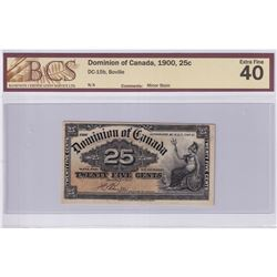 1900 25c DC-15b, Dominion of Canada, Boville, BCS Certified EF-40 (Minor Stain).