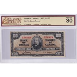 1937 $100 BC-27b, Bank of Canada, Gordon-Towers, Changeover, S/N: B/J0965606, BCS Certified VF-30 (m