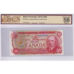 1975 $50 BC-51a-i, Bank of Canada, Lawson-Bouey, Changeover, Three Letter, S/N: EHF5963209, BCS Cert