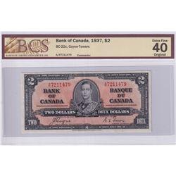 1937 $2 BC-22c, Bank of Canada, Coyne-Towers, S/N: A/R7211479, BCS Certified EF-40 Original.
