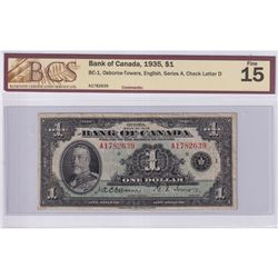 1935 $1 BC-1, Bank of Canada, Osborne-Towers, English, Series A, Check Letter D, S/N: A1782639, BCS
