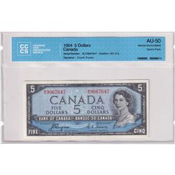 1954 $5 BC-31a, Bank of Canada, Coyne-Towers, Devil's Face, S/N: B/C9067647, CCCS Certified AU-50.