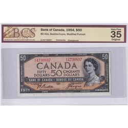 1954 $50 BC-42a, Bank of Canada, Beattie-Coyne, Modified Portrait, Changeover, S/N: A/H4730897, BCS