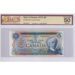 RADAR: 1972 $5 BC-48b-N1-iii, Bank of Canada, Lawson-Bouey, 4 Digit RADAR, S/N: SS6295926, BCS Certi