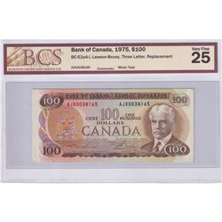 1975 $100 BC-52aA-i, Bank of Canada, Lawson-Bouey, Three Letter, Replacement, S/N: AJX0038165, BCS C