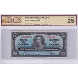 1937 $5 BC-23c, Bank of Canada, Coyne-Towers, S/N: E/S2946173, BCS Certified VF-25 (minor pinholes,
