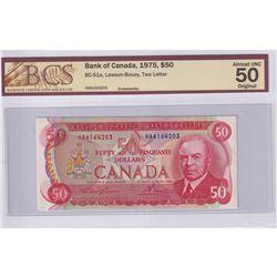 1975 $50 BC-51a, Bank of Canada, Lawson-Bouey, Two Letter, S/N: HA6164203, BCS Certified AU-50 Origi