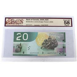 RADAR: 2004 $20 BC-64a-N1-ii, Bank of Canada, Jenkins-Dodge, Printed in 2005, 2 Digit RADAR, S/N: AZ