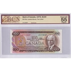 1975 $100 BC-52a, Bank of Canada, Lawson-Bouey, Two Letter, S/N: JC1118687, BCS Certified AU-55 Orig