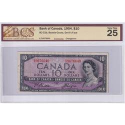 1954 $10 BC-32b, Bank of Canada, Beattie-Coyne, Devil's Face, Changeover, S/N: E/D9676640, BCS Certi