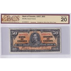 1937 $50 BC-26c, Bank of Canada, Coyne-Towers, Changeover, S/N: B/H4588078, BCS Certified VF-20 (Min