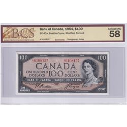 1954 $100 BC-43a, Bank of Canada, Modified Portrait, Changeover, S/N: A/J6108157, BCS Certified AU-5