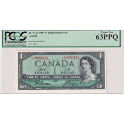 1954 $1 BC-37aA, Bank of Canada, Beattie-Coyne, Replacement, S/N: *AA0080441, PCGS Certified CUNC-63