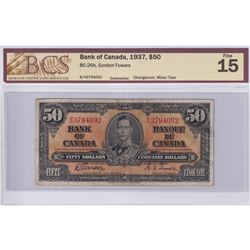 1937 $50 BC-26b, Bank of Canada, Gordon-Towers, Changeover, S/N: B/H3794092, BCS Certified F-15 (Min