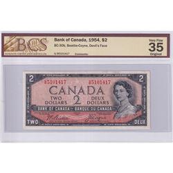1954 $2 BC-30b, Bank of Canada, Beattie-Coyne, Devil's Face, S/N: G/B5101417, BCS Certified VF-35 Or