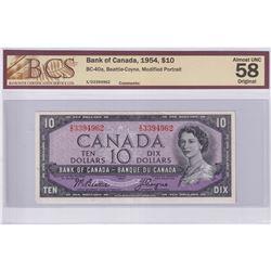 1954 $10 BC-40a, Bank of Canada, Beattie-Coyne, Modified Portrait, S/N: X/D3394962, BCS Certified AU