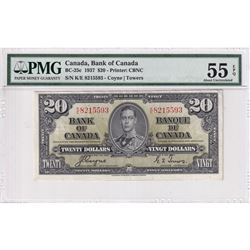 1937 $20 BC-25c, Bank of Canada, Coyne-Towers, S/N: K/E8215593, PMG Certified AU-55 EPQ.