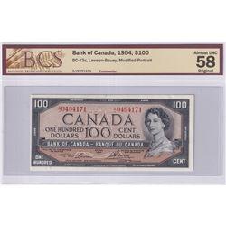 1954 $100 BC-43c, Bank of Canada, Lawson-Bouey, S/N: C/J0494171, BCS Certified AU-58 Original.