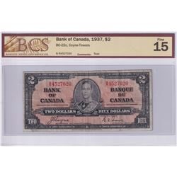 1937 $2 BC-22c, Bank of Canada, Coyne-Towers, S/N: B/R4527020, BCS Certified F-15 (minor tear).