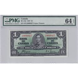 1937 $1 BC-21d, Bank of Canada, Coyne-Towers, S/N: 9000427, PMG Certified CUNC-64 EPQ.