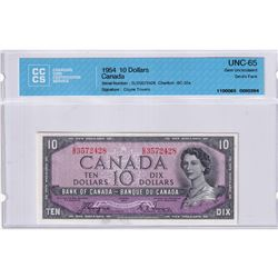 1954 $10 BC-32a, Bank of Canada, Coyne-Towers, Devil's Face, S/N: D/D3572428, CCCS Certified GUNC-65