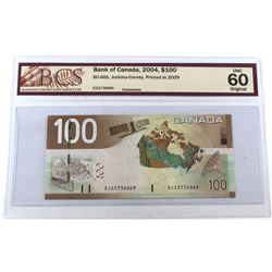 2004 $100 BC-66b, Bank of Canada, Jenkins-Carney, Printed in 2009, S/N: EJ2736869, BCS Certified UNC