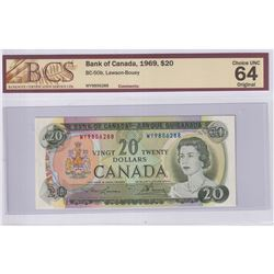 1969 $20 BC-50b, Bank of Canada, Lawson-Bouey, S/N: WY9856288, BCS Certified CUNC-64 Original.