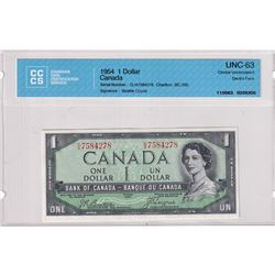 1954 $1 BC-29b, Bank of Canada, Beattie-Coyne, Devil's Face, S/N: O/A7584278, CCCS Certified CUNC-63