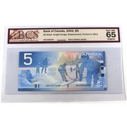 INSERT NOTE: 2002 $5 BC-62aA, Bank of Canada, Knight-Dodge, Replacement, Printed in 2001, ANV (3.060