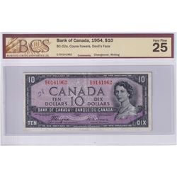1954 $10 BC-32a, Bank of Canada, Coyne-Towers, Devil's Face, S/N: E/D0141962, Changeover, BCS Certif