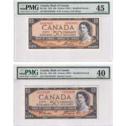 1954 $50 Bank of Canada Modified Portrait Notes PMG Certified BC-42a, Beattie-Coyne, S/N: A/H5218430