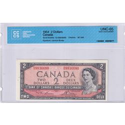 1954 $2 BC-38d, Bank of Canada, Lawson-Bouey, Consecutive Order Notes S/N: R/G8836680-83 CCCS Certif