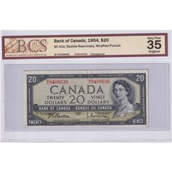 1954 $20 BC-41b, Bank of Canada, Beattie-Rasminsky, Modified Portrait, Changeover, S/N: M/E9408636,