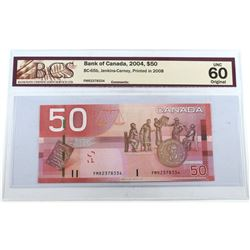 2004 $50 BC-65b, Bank of Canada, Jenkins-Carney, Printed in 2008, S/N: FMR2378334, BCS Certified UNC