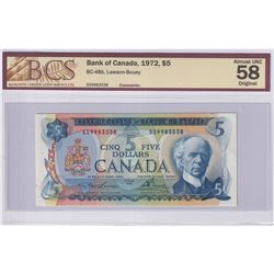 1972 $5 BC-48b, Bank of Canada, Lawson-Bouey, S/N: SS9983538, BCS Certified AU-58 Original.