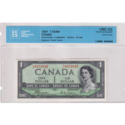 1954 $1 BC-29a, Bank of Canada, Coyne-Towers, Devil's Face, S/N: C/A8853849, CCCS Certified CUNC-63.