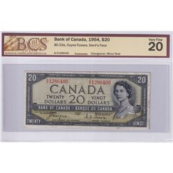 1954 $20 BC-33a, Bank of Canada, Coyne-Towers, Devil's Face, Changeover, S/N: B/E1286400, BCS Certif