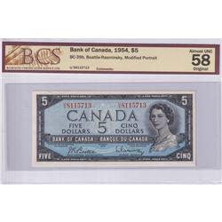 1954 $5 BC-39b, Bank of Canada, Beattie-Rasminsky, Modified Portrait, S/N: U/S8115713, BCS Certified
