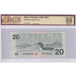 1991 $20 BC-58a-ii, Thiessen-Crow, S/N: AIK7406943, BCS Certified AU-55 Original.