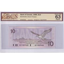 RADAR: 1989 $10 BC-57b-N1-iii, Bank of Canada, Bonin-Thiessen, Changeover, 4 Digit RADAR, S/N: BEF58